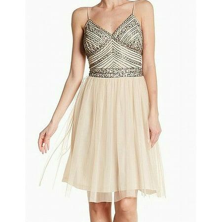 Womens Beaded Bodice V-Neck A-Line Dress 10