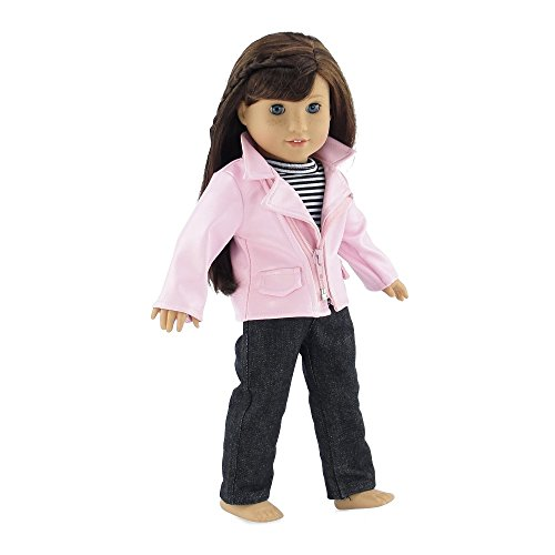 18 Inch Doll Clothes | Stylish Pink Faux Leather Crop Jacket Outfit, Includes Jeans and... by Emily Rose Doll Clothes