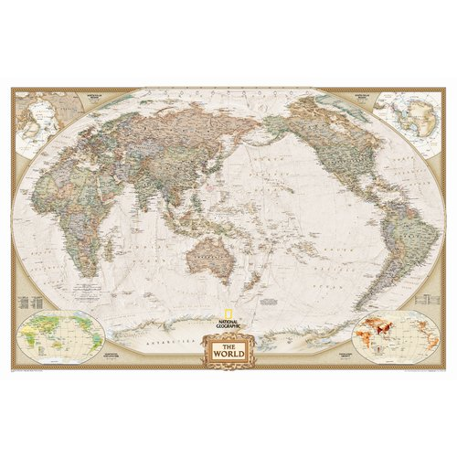 National Geographic Maps World Executive Pacific Centered Englarged Wall Map