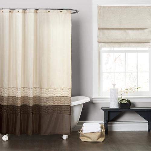 Lush Decor Mia Wheat Taupe Chocolate Shower Curtain