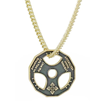 StylesILove Unisex Fitness Dumbbell Weight Plate Barbell Chain Stainless Steel Necklace (Gold) ()