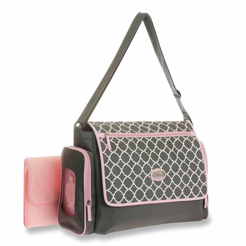 Baby Boom Messenger Diaper Bag with quick find system, Grey/Pink
