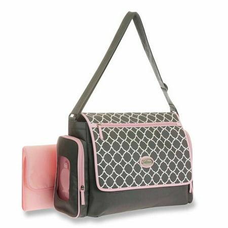 baby boom messenger diaper bag with quick find system grey pink. Black Bedroom Furniture Sets. Home Design Ideas