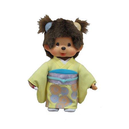 Original Sekiguchi   Monchhichi Girl Doll in Maple Autumn Japanese Kimono - Halloween Japanese Kimono