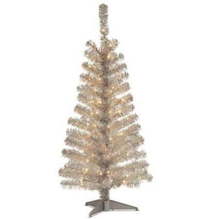 4' Pre-Lit Medium Silver Tinsel Artificial Christmas Tree ...