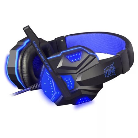 Voip Stereo Microphone Mic Headset - 3.5mm Surround Stereo Gaming Headset LED Headband Headphone with Mic for PC