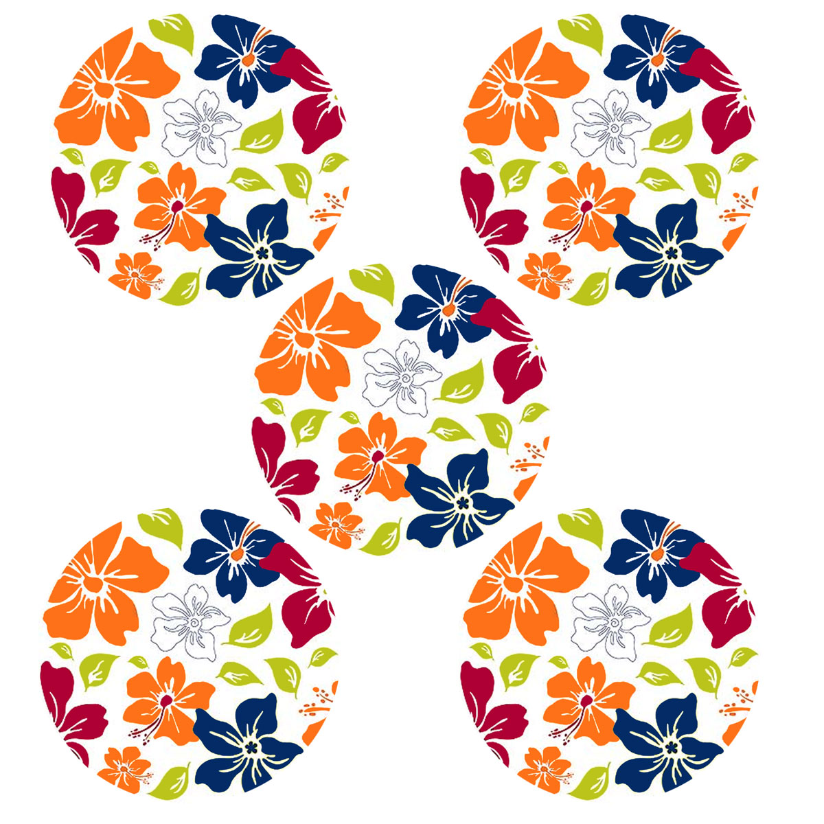 Tropical Flower Circle Self-Stick 5pc Wall Accent Stickers