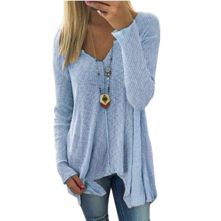 Fashion Women Plus size Casual Loose Long Hem Asymmertrical Irregular Basic T-shirt Pullover Tops Deep V-neck S-XXXXXL - Plus Size Nude Women