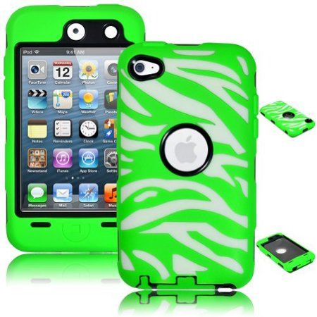 iPod Touch 4 Case, Bastex Heavy Duty Hybrid Black Inner Case Neon Green and White Zebra Design Outer Silicone Cover for Apple iPod Touch 4 ()