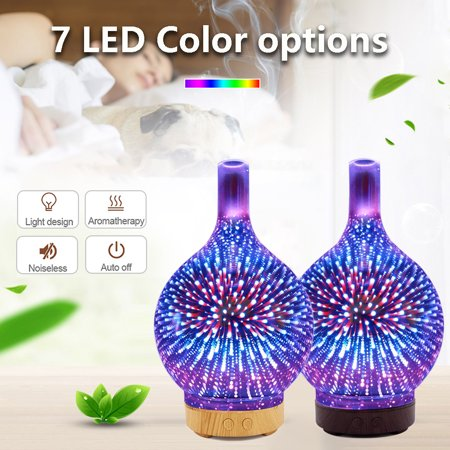 Diffuser, Essential Oil Aromatherapy 100mL- 3D Firework Glass - LED Lights - Wood Grain and Glass Aromatherapy Oil Diffuser - 7 Colors Cool Mist Ultrasonic Humidifier for Nursery, Home Glass Diffuser Trim