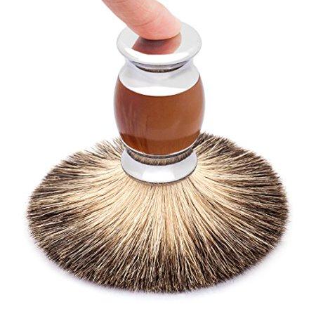 QSHAVE 100% Best Original Pure Badger Hair Shaving Brush Handmade. Faux Agate Handle. Perfect for Wet Shave, Safety Razor, Double Edge Razor - image 2 de 4