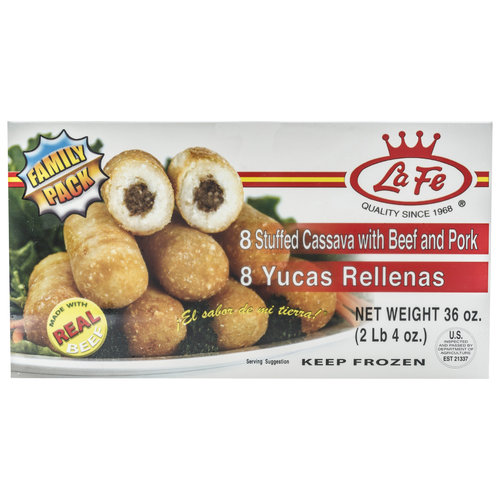 La Fe Stuffed Cassava with Beef and Pork, 8 count, 36 oz