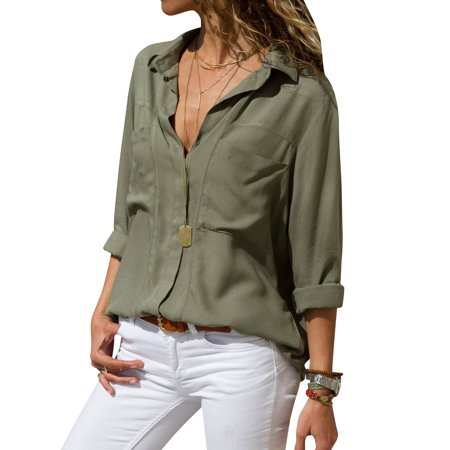 - ReliMart Women Lapel Collar Long Sleeve Front Pockets Button Down Solid Shirt