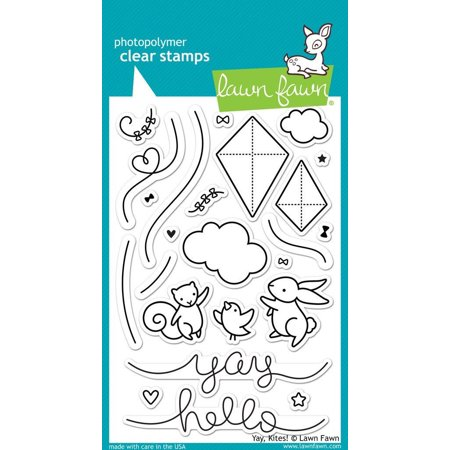 Clear Stamps - Yay, Kites! stamps, LF1425 die Stamps Tiny Lawn Stickin Sayings Pack Cookie Stitched Cute Cut Windy Cuts LF844 Dies Kites Get 8.., By Lawn Fawn Ship from US (000 Fawn)