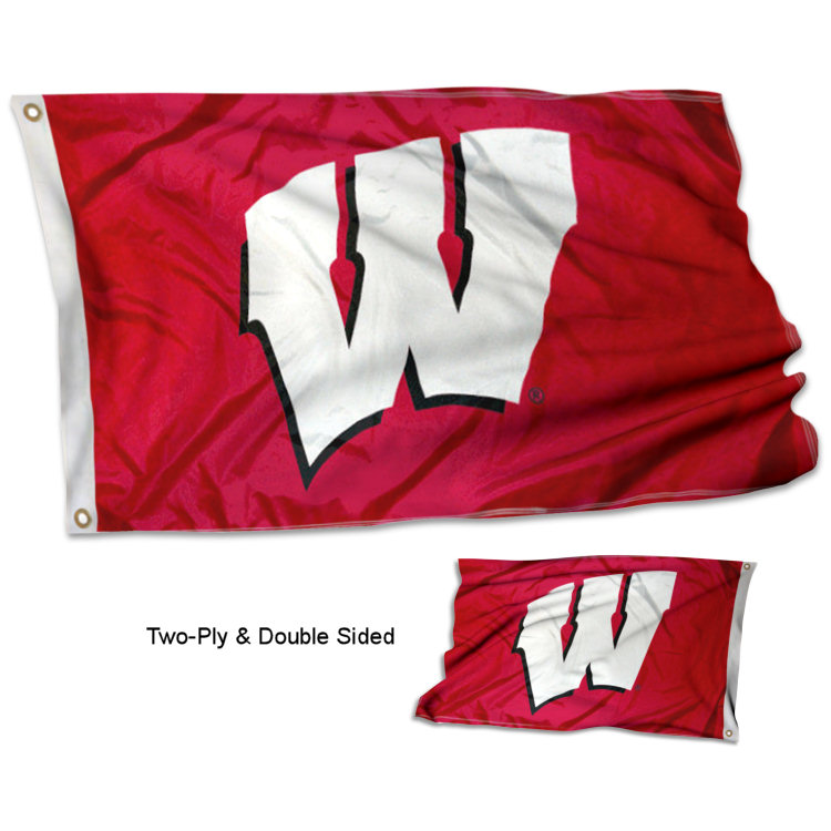 Wisconsin Badgers Motion W Double Two Sided Flag