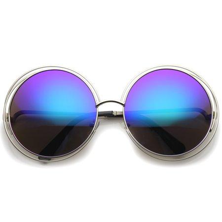 sunglassLA - Women\'s High Fashion Oversize Wire Frame Mirror Lens ...