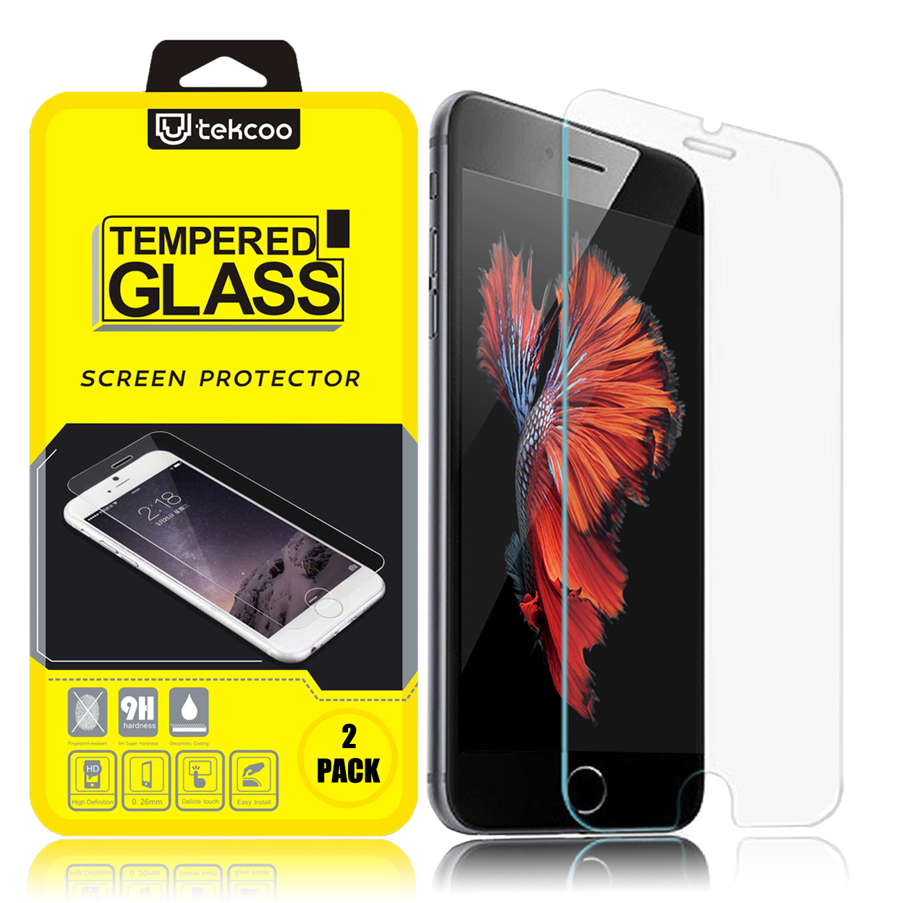 iPhone 6S Screen Protector, 2-Pack Tekcoo iPhone 6 / iPhone 6S (4.7 inch) Premium 9H Hardness Anti-Scratch HD  Tempered Glass Screen Protector Skin [3D Touch Compatible] [Rounded Edge Design]