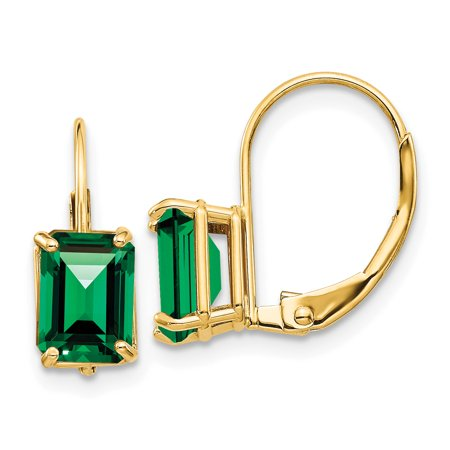 7x5mm Emerald Cut Mount (14K Yellow Gold 7X5mm Emerald Cut Mount St. Helens Leverback Earrings)