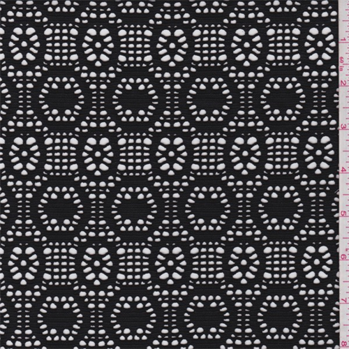 Black Circular Stretch Lace, Fabric By the Yard