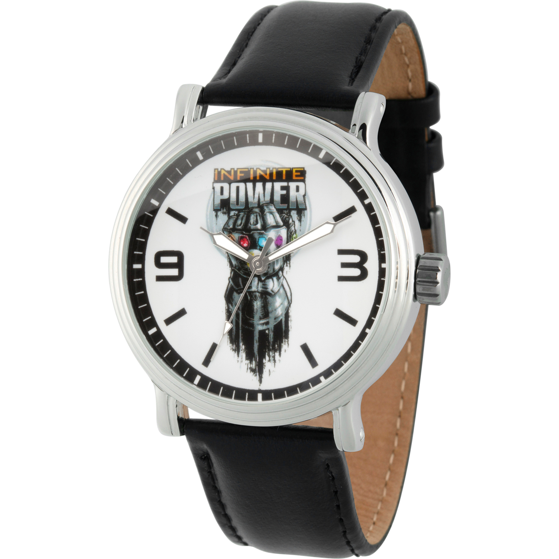 Avengers Infinity War- Infinity Gauntlet MenSilver Alloy Vintage Watch, Black Leather Strap