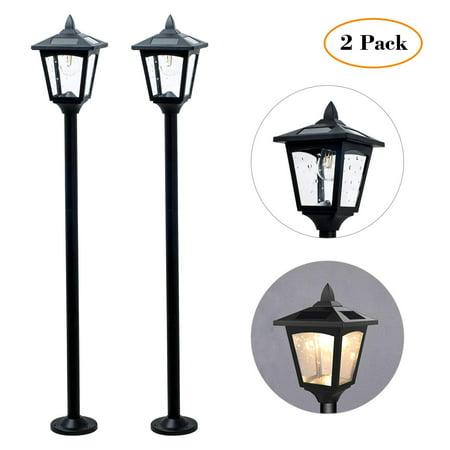 "42"" Mini Street Vintage Outdoor Garden Triple Solar Lamp Post Light Lawn - Adjustable (Pack 2)"
