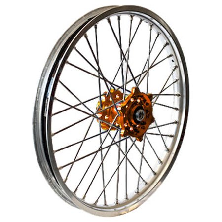 RK EXCEL REAR WHEEL SET 2.15X19 ORANGE HUB SILVER RIM