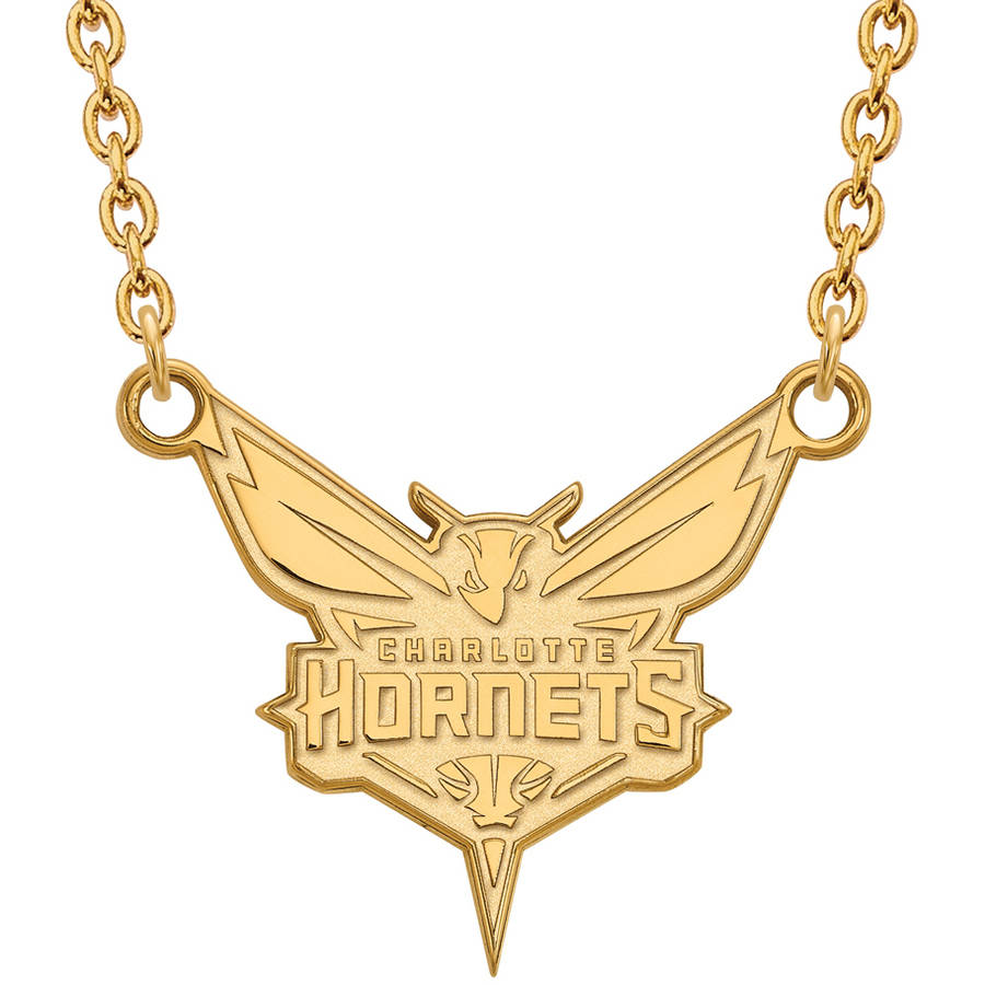 LogoArt NBA Charlotte Hornets 10kt Yellow Gold Large Pendant with Necklace