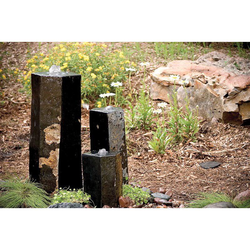 Aquascape Set of 3 Semi-Polished Stone Basalt Columns