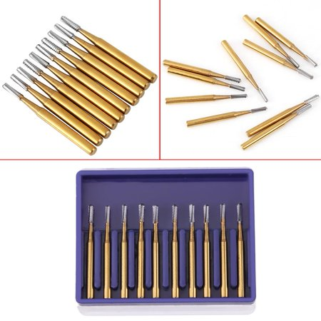 Anauto Dental Supplies , Dental Tungsten Burs,10pcs /set High Speed Dental Tungsten Steel Crown Metal Cutting Burs ()