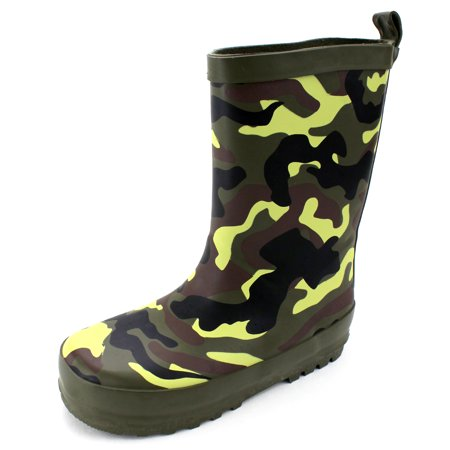 Camouflage Boys Wellington Wellies Rain Boots (Wellington Green)