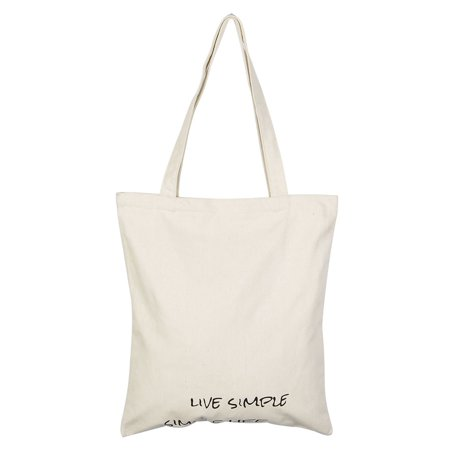 Home Canvas Letter Pattern Zipper Closure Shopping Pouch Tote Bag Holder Beige