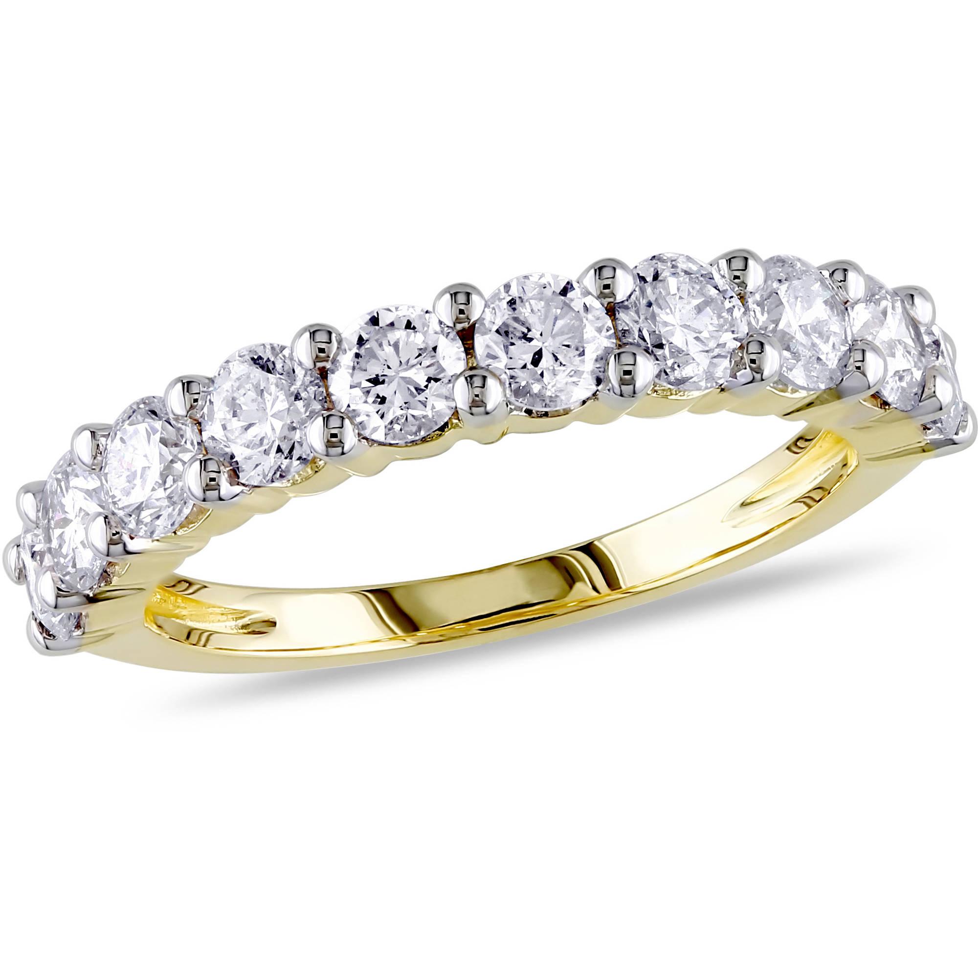 Miabella 1-1/2 Carat T.W. Diamond 14kt Yellow Gold Semi-Eternity Anniversary Ring