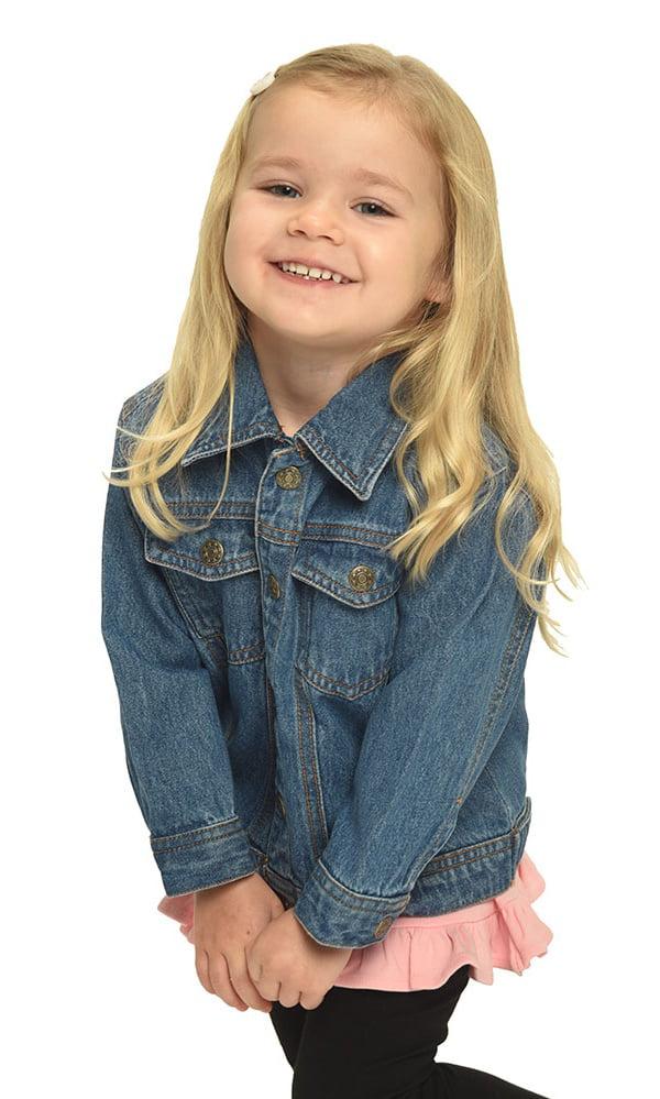 Sprockets Little Girls Dark Blue Metal Button Closure Denim Jacket 2T-6X