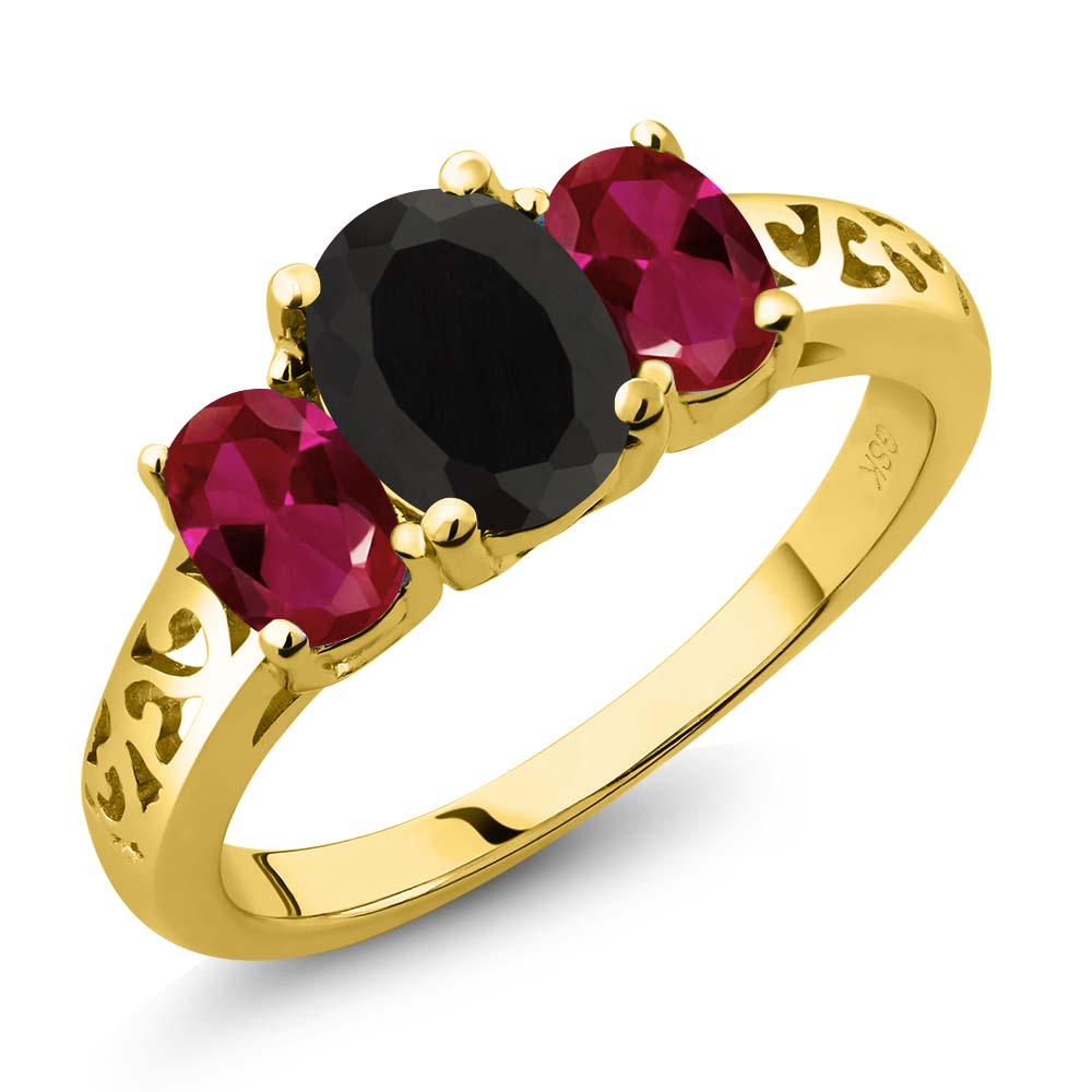 2.25 Ct Oval Black Onyx Red Created Ruby 18K Yellow Gold Plated Silver 3-Stone Ring