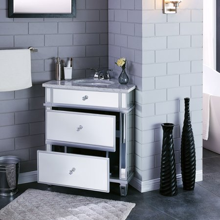 Southern enterprises anvic mirrored corner bathroom vanity - Walmart bathroom vanities with sink ...