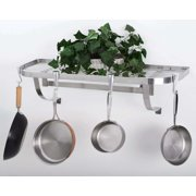 "Concept Housewares, Stainless Steel Wall Mounted Pot Rack 39""x13"" Supplied Pan Hooks Slide and Position As Needed."