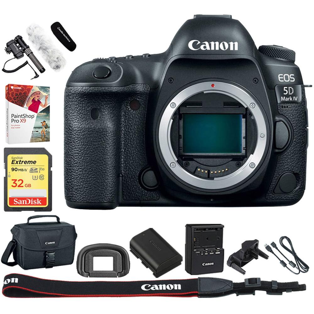 Canon EOS 5D Mark IV Full Frame CMOS DSLR Camera (Body) Wi-Fi NFC Bundle Includes, Stereo/Mono Camera Mount Microphone, 32GB SD Memory Card, Corel PaintShop Pro X9 & DSLR Gadget Shoulder Bag