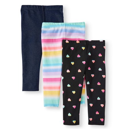 Solid & Printed Capri Leggings, 3pc Multi-Pack (Toddler Girls) - Hot Girls With Leggings