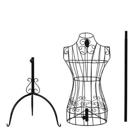 Black Metal Female Mannequin Torso - Adjustable Height Wire Frame Dress Form Display Stand with Tripod Stand