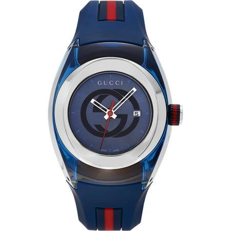 77425bc5136 Gucci - Unisex Blue Swiss Sync Striped Rubber Strap Watch - Walmart.com
