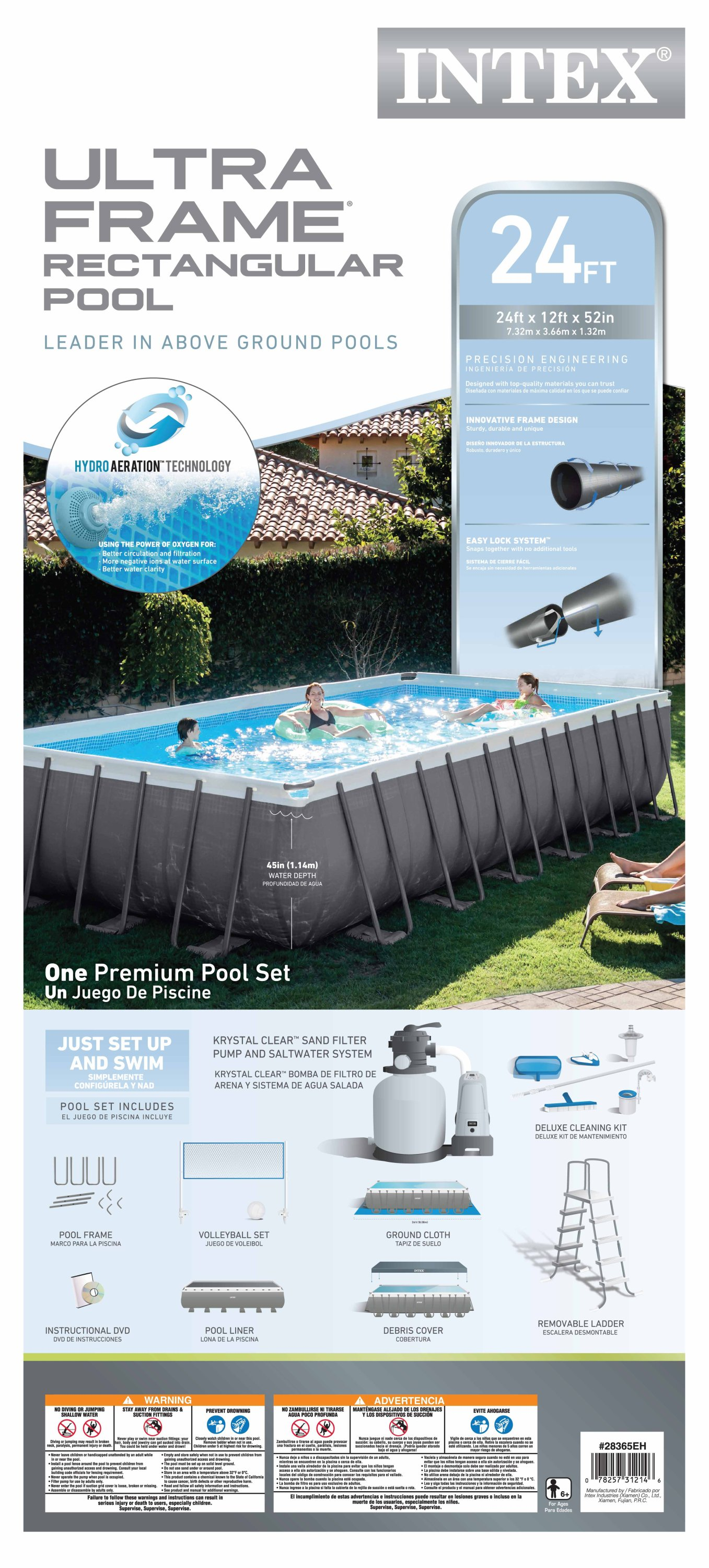 Intex 24 x 12 x 4.3 Foot Ultra Frame Pool Set with Accessories and ...
