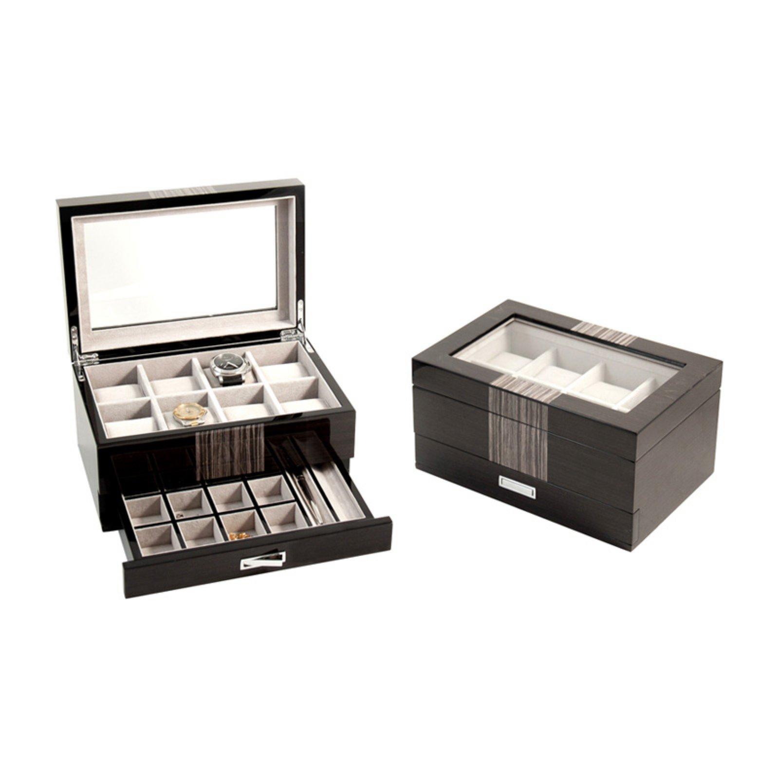 Bey - Berk Grey Wood 8 Watch Box with Cufflink & Pen Storage