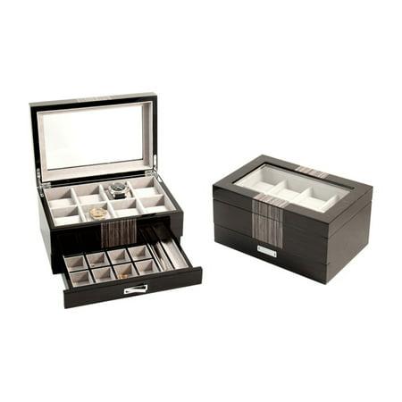 Bey - Berk Grey Wood 8 Watch Box with Cufflink & Pen Storage - Executive Cufflinks Jewelry Box