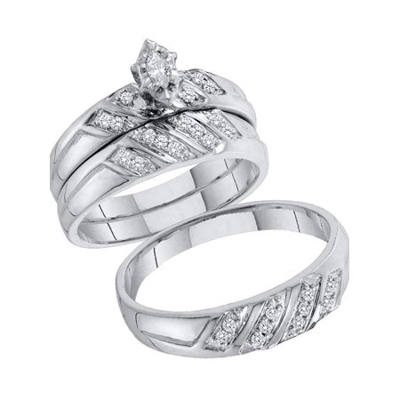 10kt White Gold His & Hers Marquise Diamond Solitaire Matching Bridal Wedding Ring Band Set 1/4 Cttw - image 1 de 1