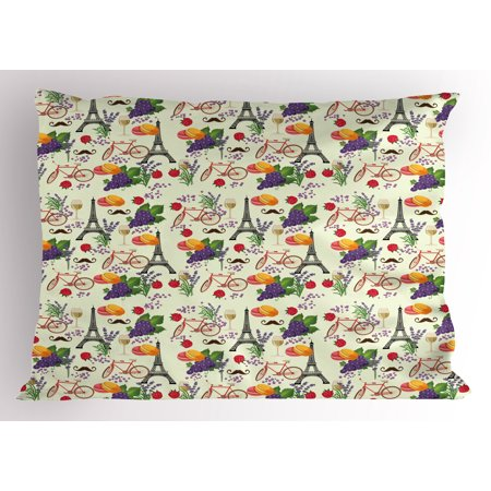 European Pillow Sham French Themed Paris Must Have Macarons Wines Grapes Bikes Berries Eiffel Art Print, Decorative Standard Size Printed Pillowcase, 26 X 20 Inches, Multicolor, by Ambesonne ()
