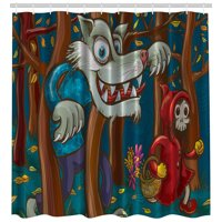 Little Red Cap Scary Wolf Art Creative Decor for Kids Unisex Shower Curtain Set