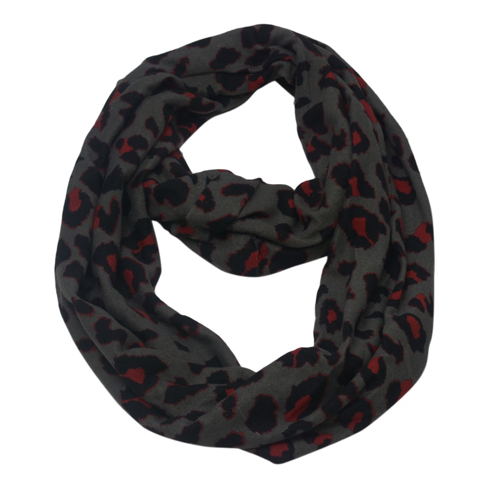 Chatties Juniors Womens Grey Red Black Leopard Infinity Scarf