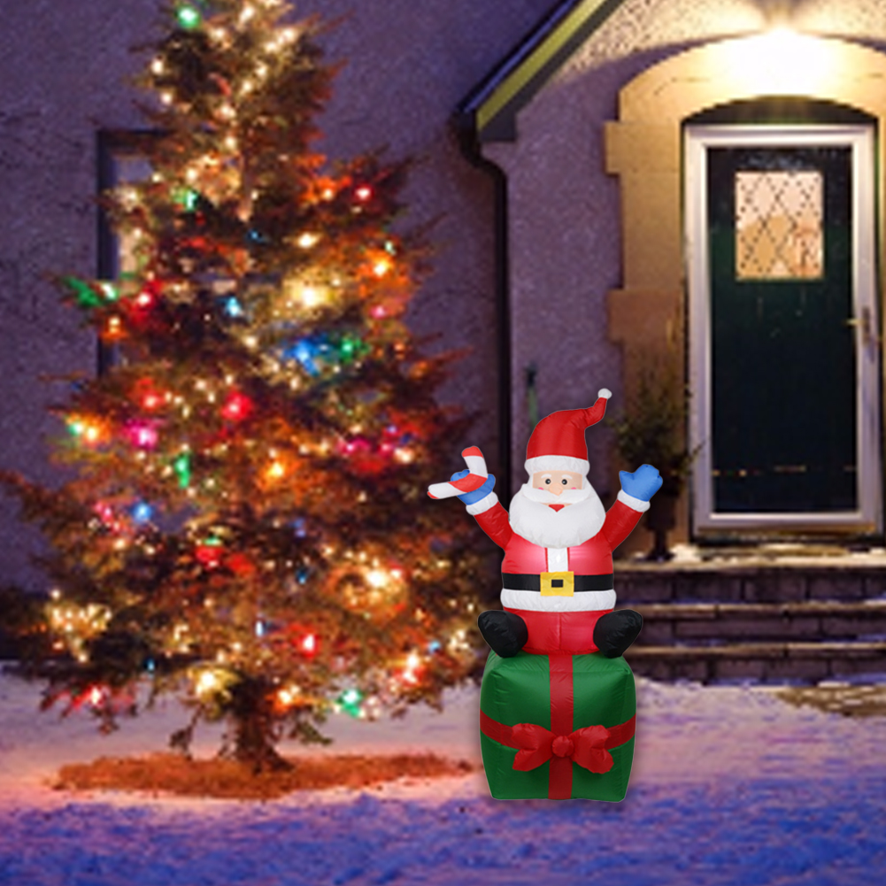 Christmas Inflatable Decoration Inflatable LED Lighted Santa Christmas Yard Decoration Inflatable Santa Claus Indoor Outdoor Yard Garden Christmas