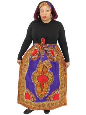 Women's Wax Dashiki Skirt Bow Tie Elastic Waist Ankara Maxi