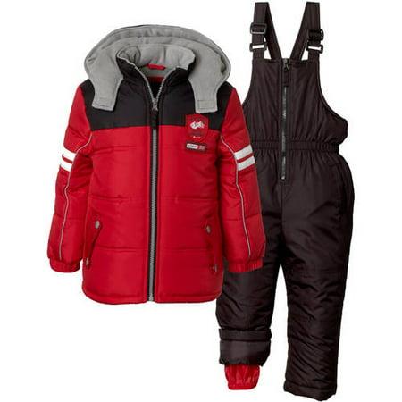 iXtreme Baby Toddler Boy Colorblock Puffer Coat & Snowpants Ski Bib, 2pc Set